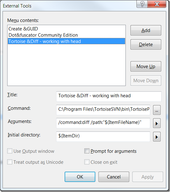 Creating a shortcut key in Visual Studio 2008 to launch TortoiseSvn